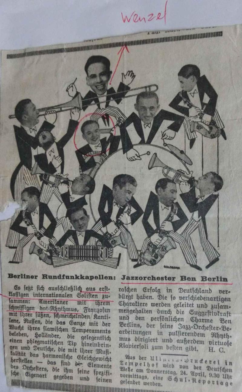 1930Zeitungsbericht über das Jazzorchester Ben Berlin - WR mit dem Banjo