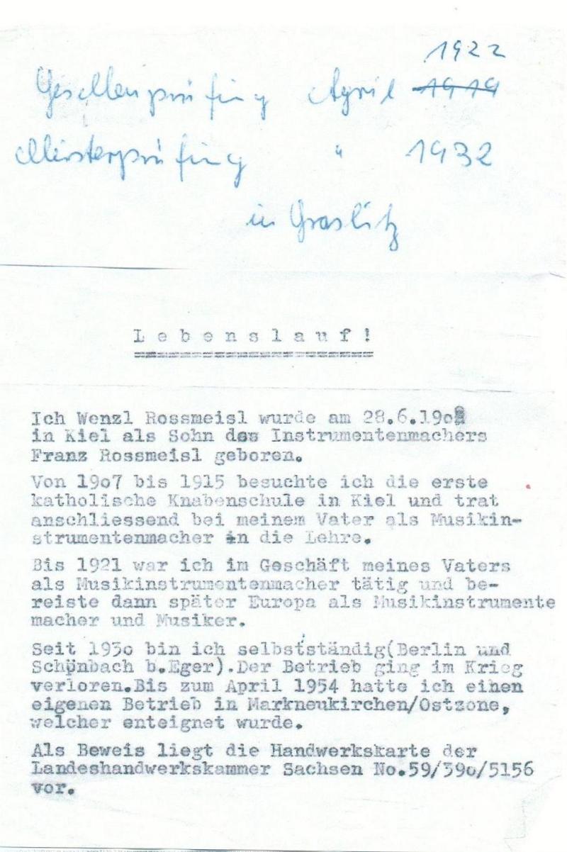 1954Lebenslauf von Wenzel Rossmeisl mit Zusatzvermerken