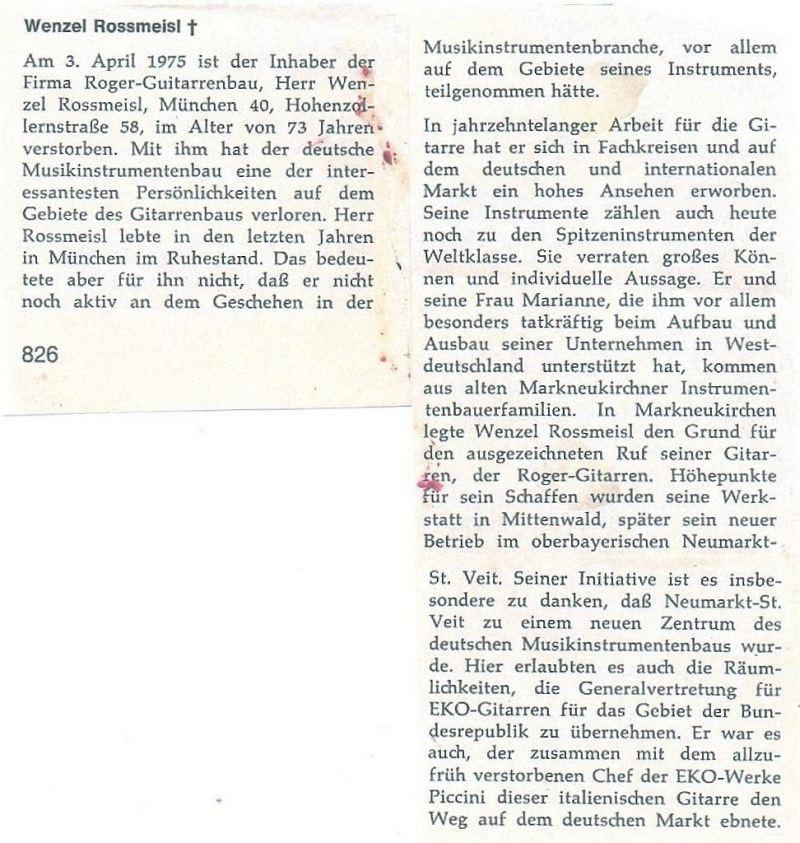 Apr.75Nachruf zum Tode von Wenzel Rossmeisl