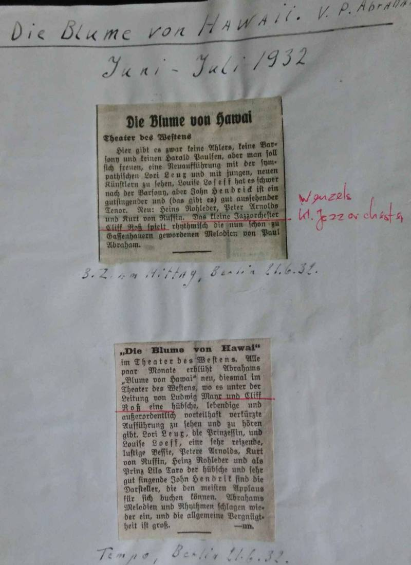 """Jun.32Zeitungsanzeigen über """"Die Blume von Hawai"""" mit pers. Notizen"""