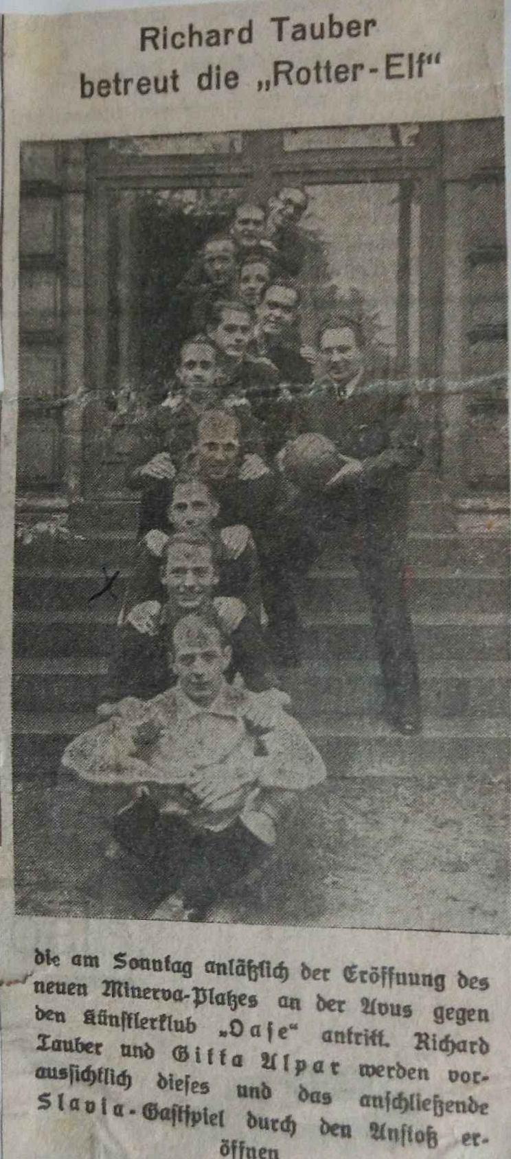 1933Fußball Benefizspiel, Eröffnung des neuen Minerva-Stadions an der Avus - WR 2. v. unten