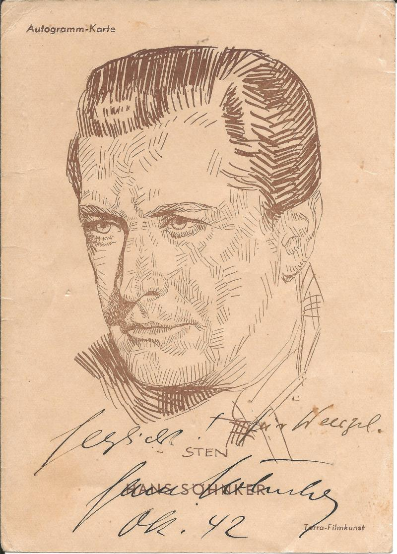 Bild 036 / Okt.42 / Schauspieler Hans Söhnker, geboren in Kiel, mit Widmung