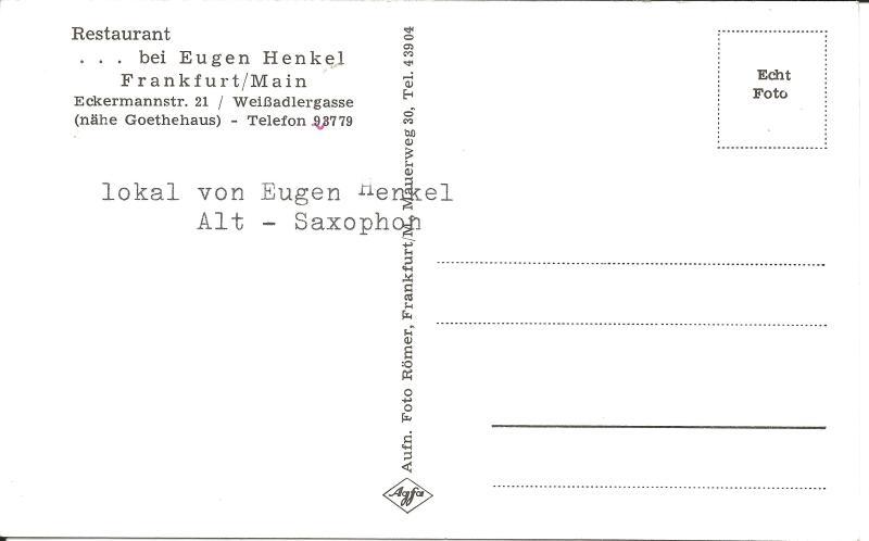 Bild 066 / ca1959 / Lokal von Musikekollege Eugen Henkel. Saxophonist
