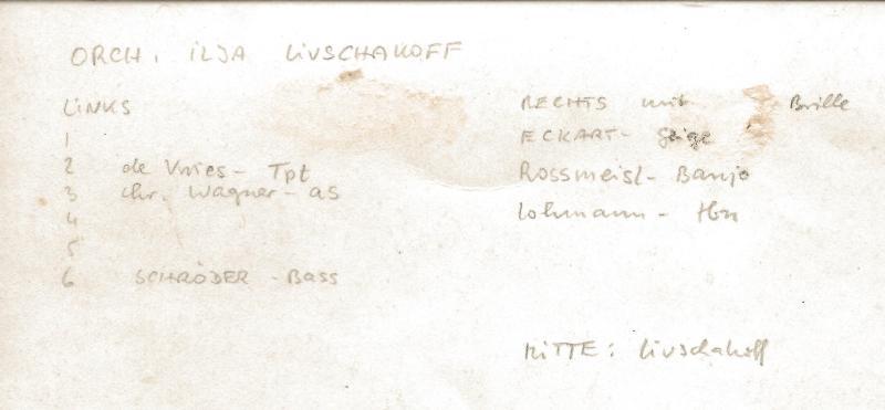 ca1933Orchester Ilja Livschakoff - Bildrückseite