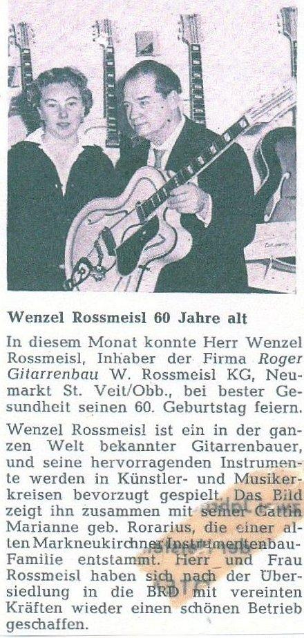 Jun.62Zeitungsartikel zum 60. Geburtstag von Wenzel Rossmeisl