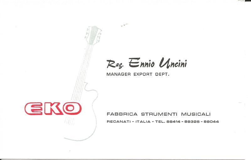 ca1965Visitenkarte des Verkaufsmanagers Uncini von EKO