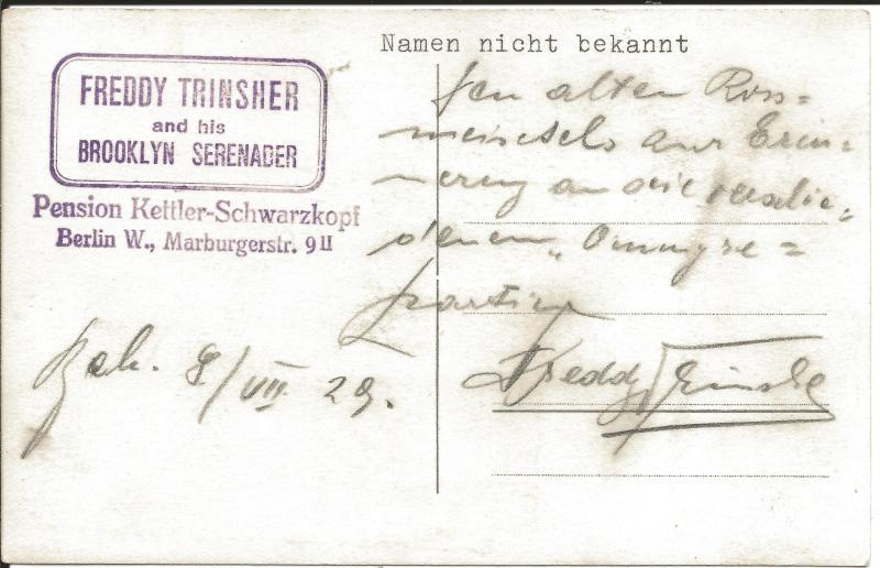 Bild 017 / 08.07.29 / Postkarte von Freddy Trinsher and his Brooklyn Serenader - Bildrückseite