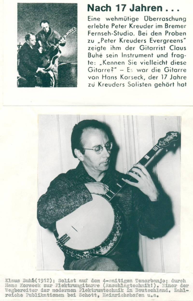 Bild 045 / ca. 1950 / Klaus Buhe - mit Peter Kreuder, seiner ROGER Nr. 35 und seinem Banjo