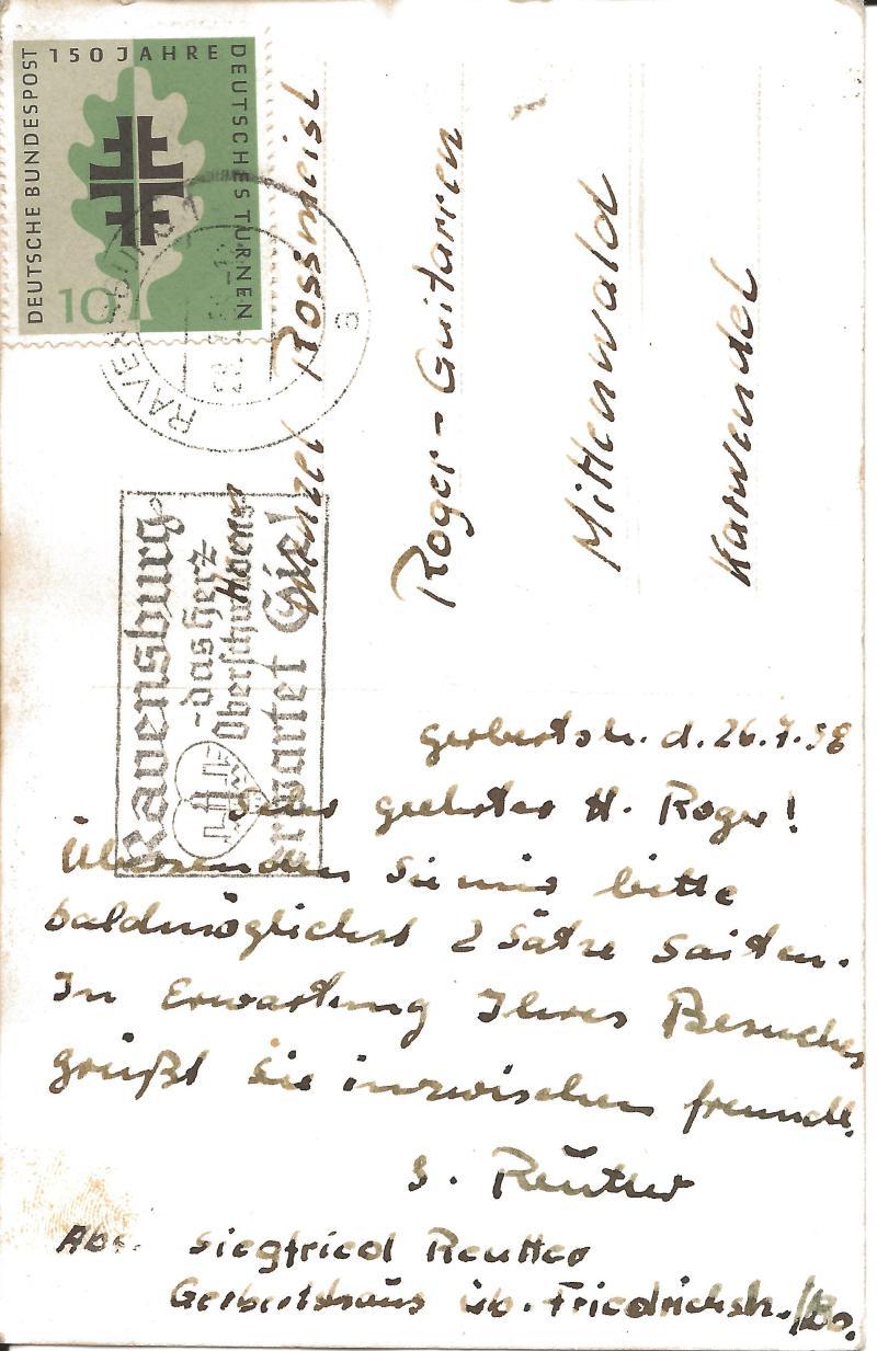 26.07.58Postkarte von der Werkstatt in Mittenwald - Bildrückseite